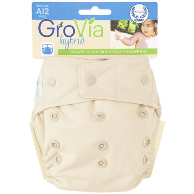 GroVia Cloth Diaper Shell - Snap - Vanilla