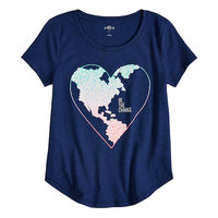 SO® Curve Hem Shiny Graphic Tee For Girls 7-16 & Plus Size