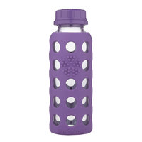 Lifefactory Glass Water Bottle with Flat Cap and Silicone Sleeve