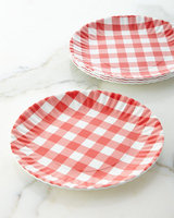 Horchow Four Gingham Melamine Plates, RED/WHITE