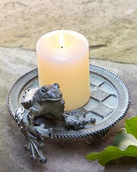 Mackenzie-childs Frog Candle Plate, DARK GREEN