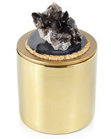 Horchow Smoky Quartz and Agate Candle, BLK/GREY