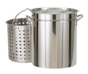 Bayou Classic All Purpose Stockpot w/ Steam & Boil Basket, Stainless Steel