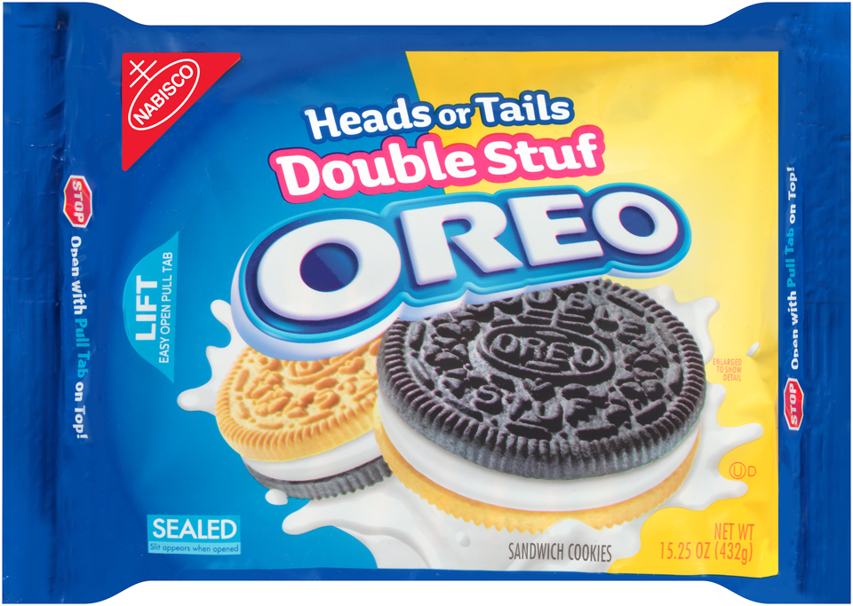 Nabisco Oreo Sandwich Cookies Double Stuf Heads or Tails