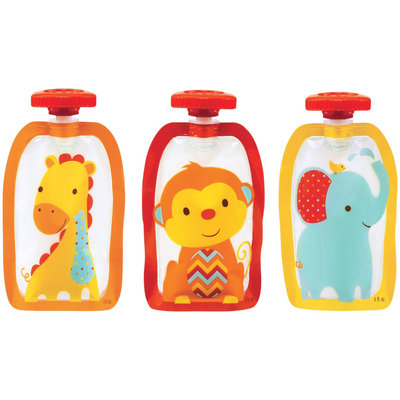 Infantino Fashion Squeeze Pouches - Animals - 4 oz - 50 ct