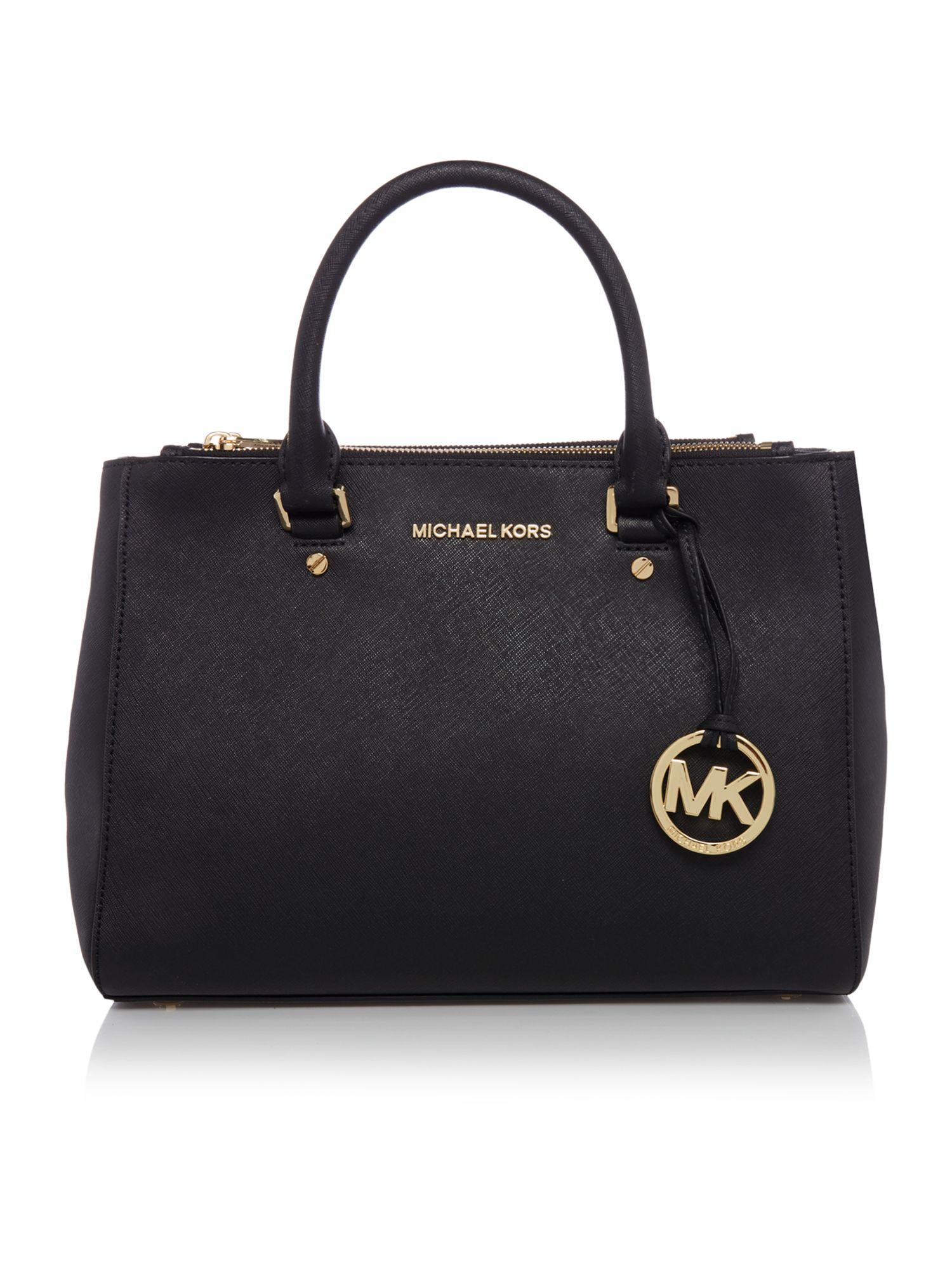 Michael Kors Sutton Medium Saffiano Leather Satchel Handbag in Black