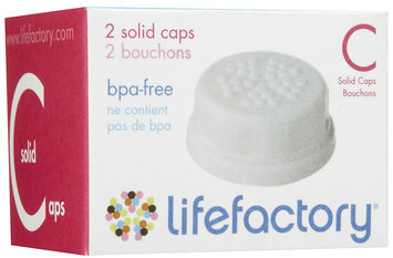 Lifefactory 2-Pack Baby Bottle Flat Solid Cap Set in White