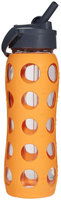 Lifefactory Glass Bottle with Straw Cap - Orange - 22 oz