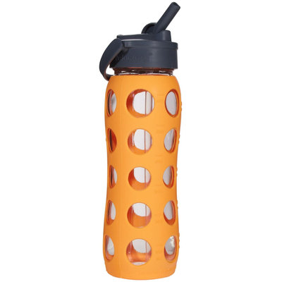 Lifefactory Glass Bottle with Straw Cap - Orange - 22 oz