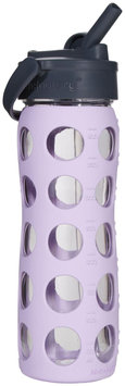 Lifefactory Glass Bottle with Straw Cap - Lilac - 16 oz