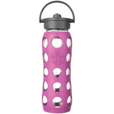 Lifefactory Glass Bottle with Straw Cap and Silicone Sleeve - 22oz - Huckleberry