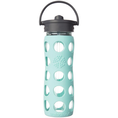 Lifefactory Glass Bottle with Straw Cap and Silicone Sleeve - 16oz - Turquoise