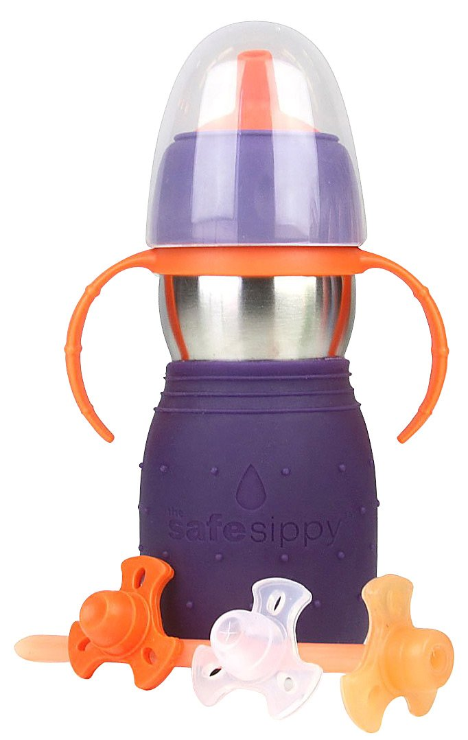 The Safe Sippy 2 2-in-1 Sippy to Straw Bottle, Purple