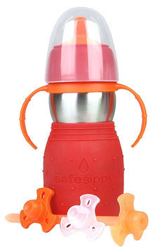 Kid Basix The Safe Sippy 2 Sippy+Straw Bottle - 11 oz - Red - 1 ct.