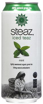 Steaz Organic Iced Teaz, green tea W/ Mint, Cans, 16 oz, 12 pk