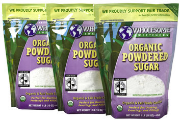 Wholesome Sweeteners Fair Trade Org Powdered Sugar, 16 oz Pouches, 3 pk