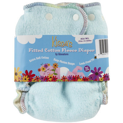 Kissaluvs Kissa's Fitted Cloth Diaper - Snap - Sky Blue - 1 ct.