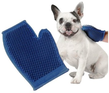 Pet Buddies Dog and Cat Grooming Glove - Blue - One Size Fits All