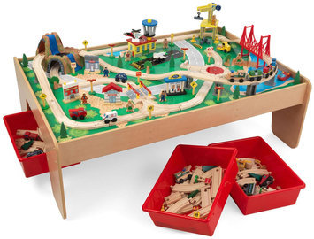 KidKraft Waterfall Mountain 120-Piece Train Table Set