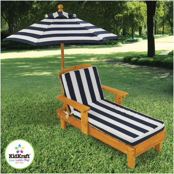 KidKraft Outdoor Chaise with Umbrella and Navy Stripe Fabric