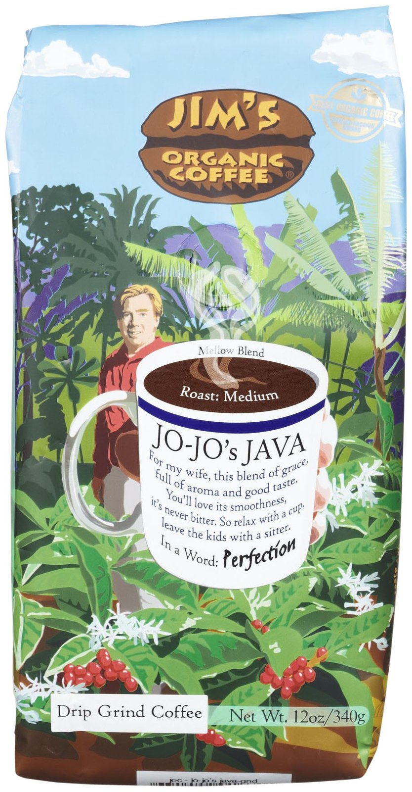 Jim's Organic Coffee Organic Jo Jo's Java Ground Coffee, 12 oz