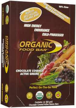 Organic Food Bar Raw Active Greens Chocolate Covered - 12 Bars