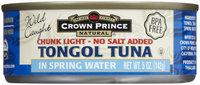 Crown Prince Chunk Light Tongol Tuna, In Water, 5 oz