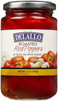 Delallo Roasted Red Peppers, With Garlic 12 oz