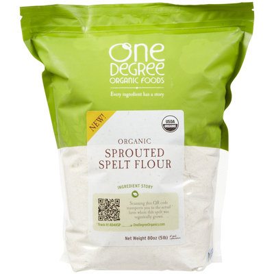 One Degree Flour 95% Organic Sprouted Spelt 80 Oz, Pack of 4