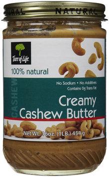 Tree Of Life Creamy Cashew Nut Butter, No Salt, 16 oz