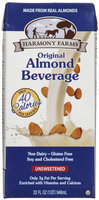 Harmony Farms Unsweetened Original Almond Beverage, 32 fl oz - 1 ct.