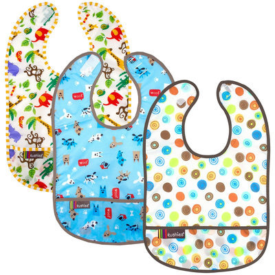 Kushies Baby Taffeta Waterproof Bib- Neutral - 3 Pk - 1 ct.
