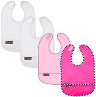Kushies Baby Taffeta Waterproof Bib - Girl Solid Assortment - 4 Pk - 1 ct.