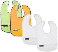 Kushies Baby Taffeta Waterproof Bib - Lime/Orange/ White assortment - 4 Pk - 1 ct.