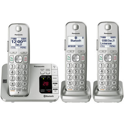 Panasonic DECT 6.0 Plus 1.9 GHz 3 Handset Cordless Phone With Digital Answering Machine