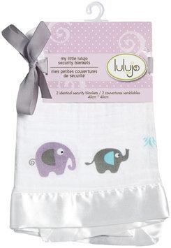 lulujo Muslin Cotton 2 pk Security Blankets- Elephants