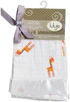 lulujo Muslin Cotton 2 pk Security Blankets- Giraffes