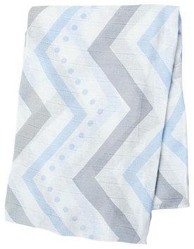 lulujo Bamboo Muslin Swaddling Blanket- Blue Chevron