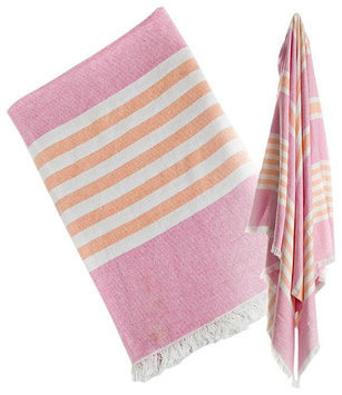 lulujo Turkish Towel - Pink & Apricot