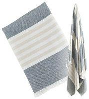 lulujo Turkish Towel - Navy & Oatmeal