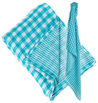 lulujo Reversible Muslin Swaddling Blanket- Aqua Blue