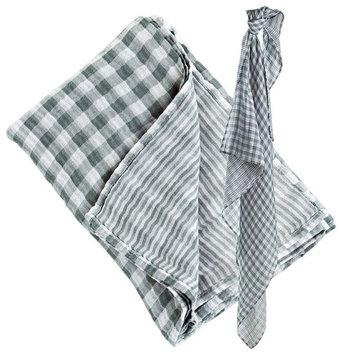 lulujo Reversible Muslin Swaddling Blanket- Warm Grey