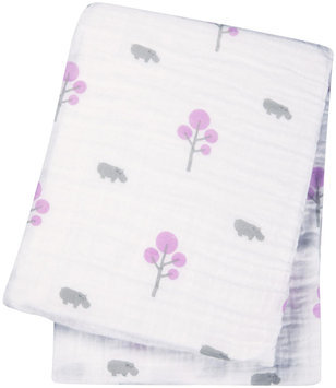 lulujo Muslin Cotton Swaddling Blanket- Hippos & Pink Trees