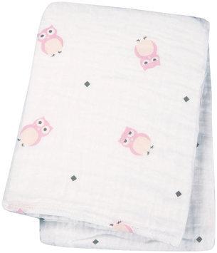 lulujo Muslin Cotton Swaddling Blanket- Pink Owl