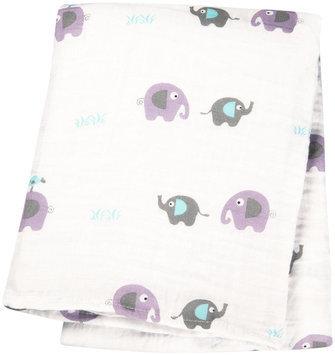 lulujo Muslin Cotton Swaddling Blanket- Elephants