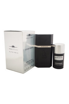 Azzaro MGS2371 Silver Black by Azzaro for Men 2 Pc Gift Set 3.4oz EDT Spray#44; 2.7oz Alcohol Free Deodorant Stick