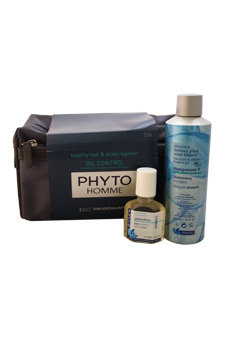 Phyto Homme Healthy Hair & Scalp Regimen Oil Control Kit by Phyto for Men - 3 Pc Kit 0.8oz Phytopolleine Universal Elixir, 6.7oz Phytopanama+ Intelligent Shampoo, Pouch