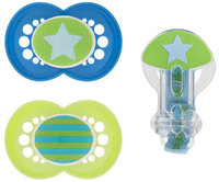 MAM Trends Silicone Pacifier - Blue - 2 pack & clip (6+ months) - 1 ct.