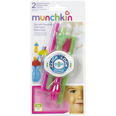 Munchkin Click Lock Replacement Straws with Valves - 2 Pk - Girl