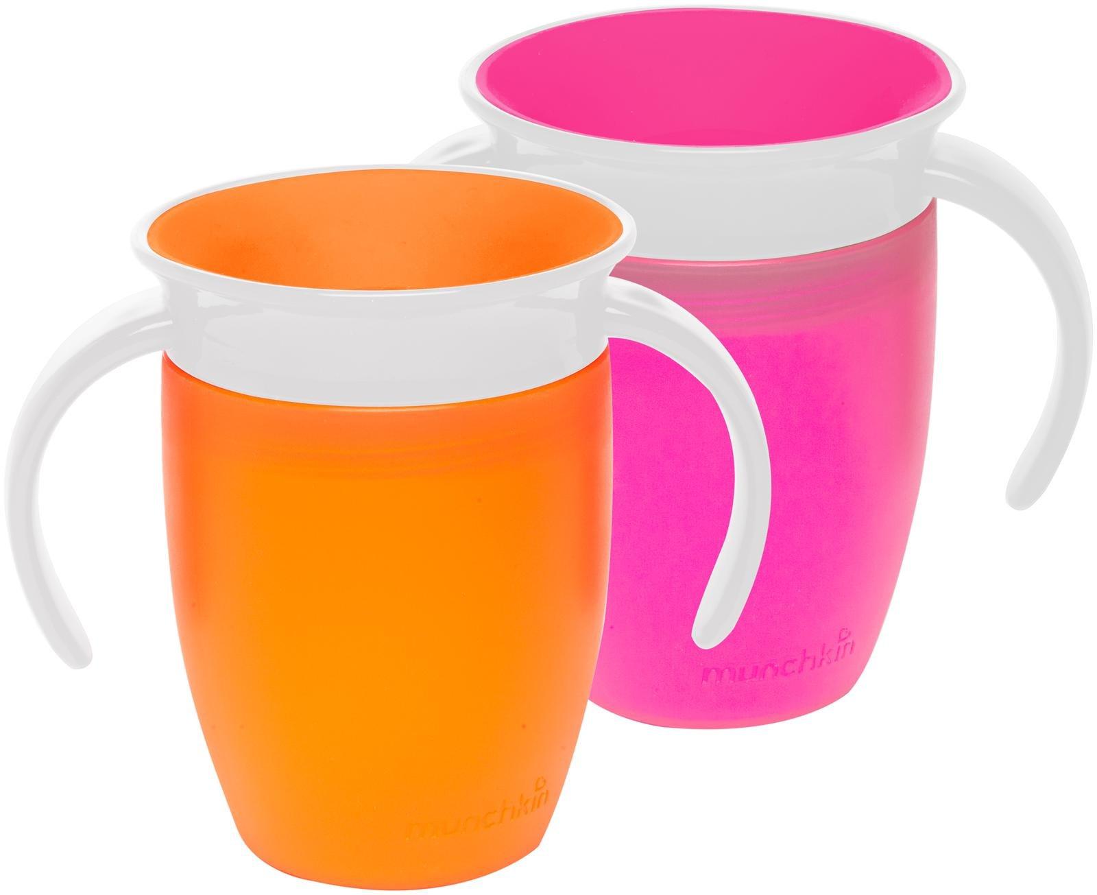 Munchkin Miracle 360 Degree 7oz Trainer Cup - 2pk, Pink/Orange